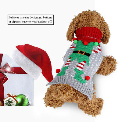Pullover Pet Warm Sweater Stripe Winter Warm Cat Dog Christmas Knitwear Sweater
