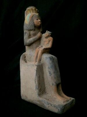 ANCIENT EGYPT EGYPTIAN STATUE Goddess ISIS Suckling Her Son HORUS Stone 332 BC