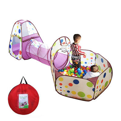 Portable Kids Indoor Outdoor Play Tent Crawl Tunnel Set 3 in 1 Ball Pit Tent PP