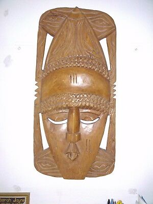 Nigerian (c.1970-75) Wooden African face mask carving Retro Folk Art Tribal Wall