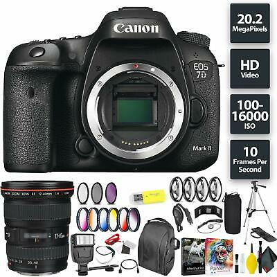 Canon EOS 7D Mark II DSLR Camera (Body) + Canon 17-40mm Lens Wide Angle Combo