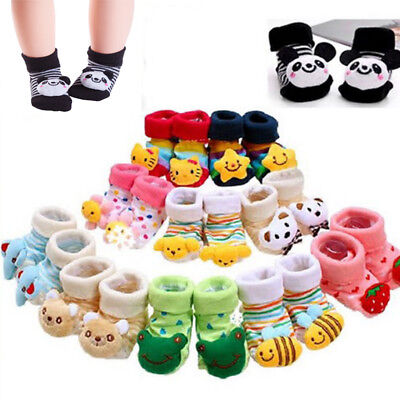 Cute Baby Girl Boy Anti slip Socks Cartoon Newborn Slipper Shoe Boot 0-12 Months