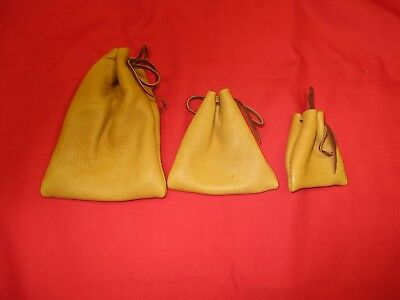 3 GENUINE BUCKSKIN Multi Use Drawstring Pouches, Coins Hunting & Fishing Mis Use