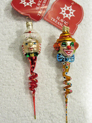 Two Slavic Treasures Ornaments - Twisted Mrs. Claus & Twisted Clown.  Perfect!