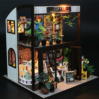 Handcraft DIY Doll House Time Cafe Wooden Miniature Furniture LED Light Gift Toy