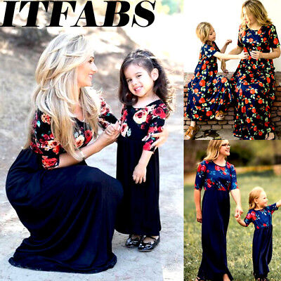 USA  Family Clothes Mother Daughter Dresses Womens Girls Floral Long Maxi Dress