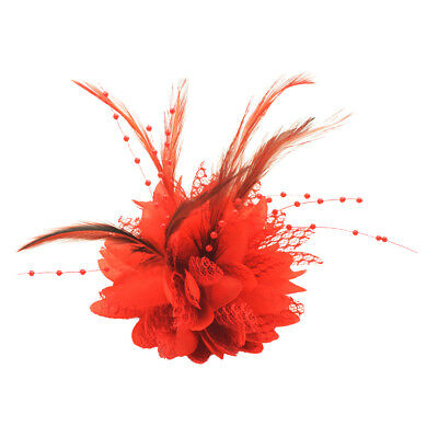 New Lady Handmade Hair Clip Party Bridal Fascinator Feather Flower Headware