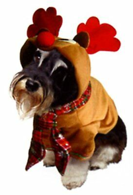 Dog Christmas Rudolph Reindeer Costume with Hood & Antlers Fancy Dress Outfit