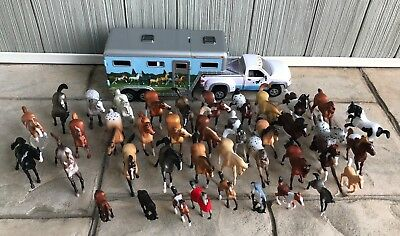 Lot of 40 Breyer Horses Assorted Sizes and Varieties With Truck and Trailer