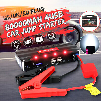 80000mAh Car Jump Starter 4 USB Emergency Charger Booster Power Bank Battery US