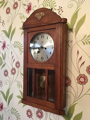 "Rare Oak Cased Edwardian  ""Doldonia"" German Wall Clock"