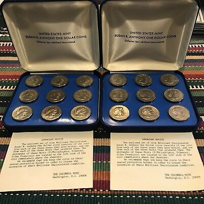 Lot Of 2 Susan B Anthony BU Collectors Set 1979-1981 With Display Box
