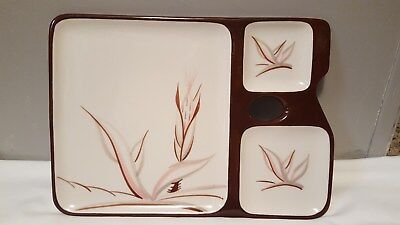 WINFIELD California Pottery Dragon Flower 3 Compartment Snack Tray Rare Vintage