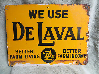 "VINTAGE 12""x16"" WE USE DELAVAL METAL SIGN-#2"