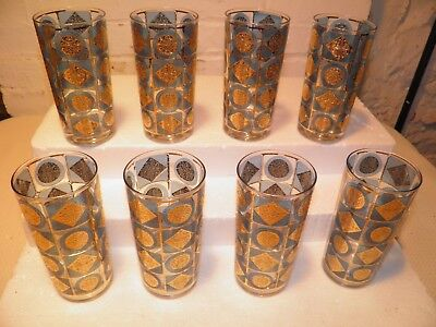 """8 RARE-Vintage Culver Highball Glasses Gold & Blue 5 5/8"""" Tall  ( Marked )"""