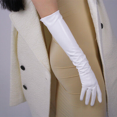 """Long Gloves Faux Leather 19"""" 50cm Opera Evening Shine Patent White Touchscreen"""