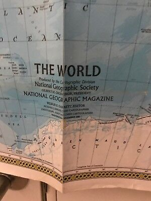 "National Geographic Society World Map 1981 Laminated 42"" x 29""Reverse Side Ocean"