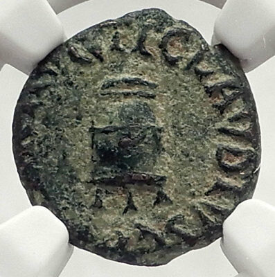 CLAUDIUS - Genuine 41AD Rome Food MODIUS Authentic Ancient Roman Coin NGC i73322