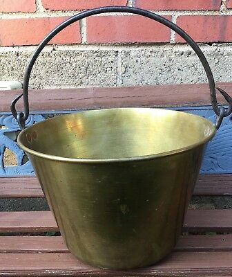 Vintage Spun Brass Apple Butter Pot-Kettle-Pail-Bucket-Primitive-Antique-Hayden?