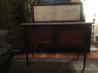 Antique Edwardian inlaid mahogany wash stand with white marble top and back