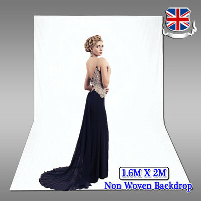 UK 1.6m x 2m Photo Studio White Backdrop Screen Non Woven Background Photography