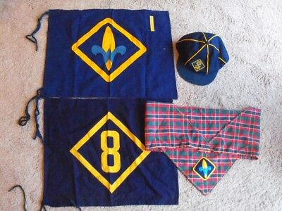 Lot of 4 vintage Items: Webelos Neckerchief & Den Flag, Cub Scout Cap & Den Flag
