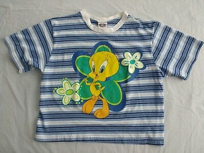 Vtg 90s Tweety Bird Cropped T-shirt Top L Blue Striped Floral Looney Tunes Exc