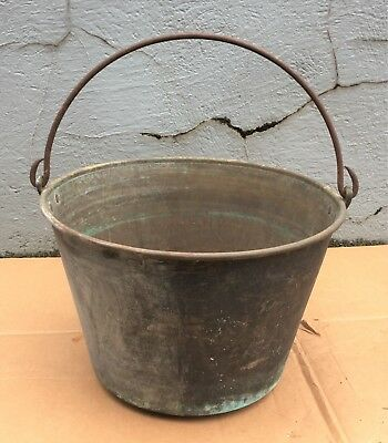 Vintage Antique Copper Bucket Forged Wrought Handle Patina Pail Planter Decor