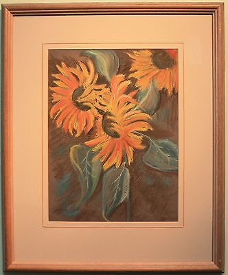 Framed Authentic Original Pastel Drawing Art SUN FLOWERS by FELICITY ORR