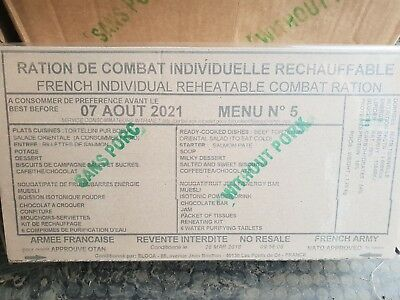Menu 5 Genuine French Army 24 Hour Ration Pack - Camping - Prepping - Mre