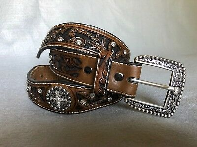 Ariat Women's Brown Leather Belt Country Western Bling Size L *STUNNING*