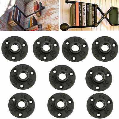 10Pcs 1/2 Black Malleable Threaded Floor Flange Iron Pipe Fittings Wall Mount