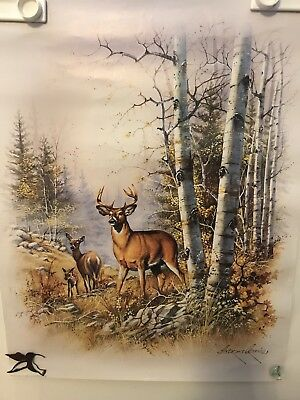 "Scafa-Tornabene Art Litho Print 1990 The Woods w/ Deer 28"" X 22"" Anddes Copinas"