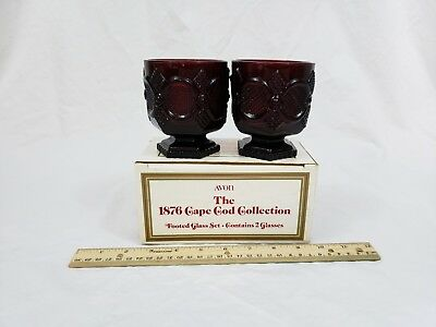 Vintage Avon 1876 Cape Cod Collection Footed Glass Set Ruby Red Set of 2 NIB