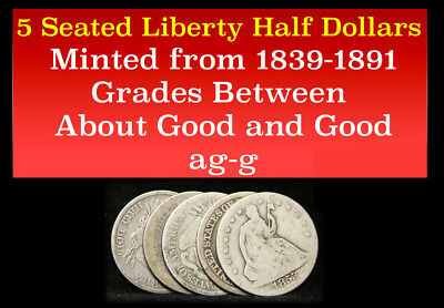 Set Of 5 Seated Liberty Half Dollars 50C Silver Great Starter Set