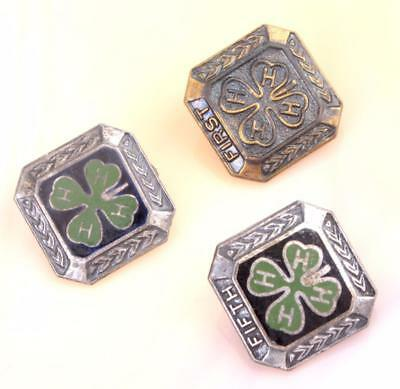 """Lot of Three 4H Pins Two of Them Stamped Sterling Pins measure 1/2"""" by 1/2"""""""