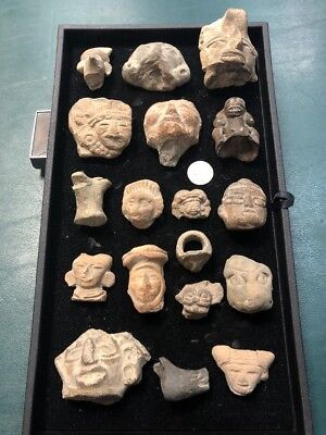 Large Lot Of Original Pre Columbian Ritualistic Gods Heads And More