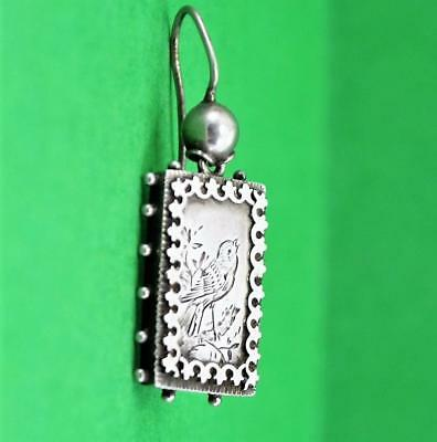 Victorian Aesthetic Period Sterling silver earring Pendant ? Song Bird engraved
