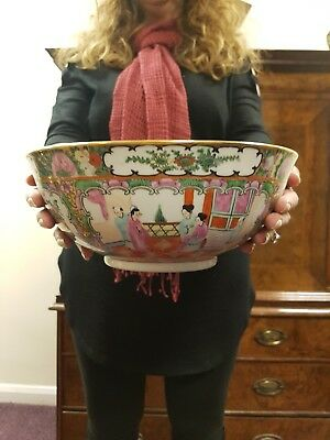 Large Vintage Antique Chinese Porcelain Bowl Famille Rose