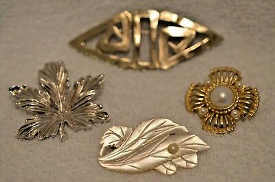 Lot of 4 Estate Vintage Pins Brooches Silver Gold Tone Mother of Pearl