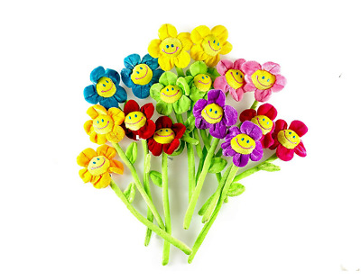"""13"""" Colorful Sunflowers Bendable Stems Flowers Kids Toys Smiley Face Decor 10 PC"""