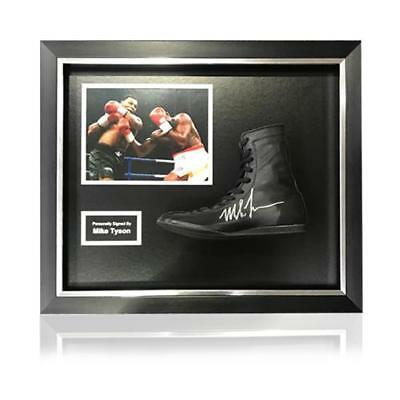 Mike Tyson Hand Signed Trademark Black Boxing Boot in Deluxe Classic Acrylic Dom