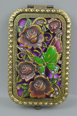 Decor Collectible Old Cloisonne Carve Butterfly Flower Rare Usable Mirror Gift