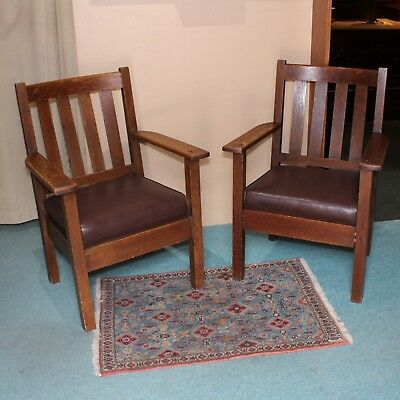 Antique Matching Pair Of Arts and Crafts Era Mission Style Oak Arm Chairs NR