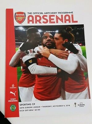 Arsenal v Sporting Lisbon. Uefa Europa League Official Matchday Programme 18/19