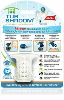 TubShroom Hair Catcher, Strainer, Drain Protector for Tub 100% Authentic (White)
