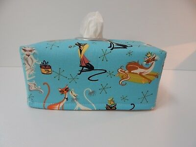 Tissue Box Cover Fancy Felines Blue With Circle Opening - Great Gift!