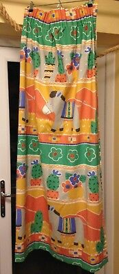 NURSERY CURTAINS BABY CHILD KIDS bedroom, multi-coloured with donkeys cactuses