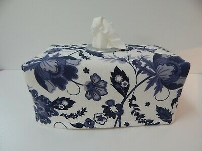 Tissue Box Cover Wedgewood Blue Floral with Circle Opening - Great Gift!