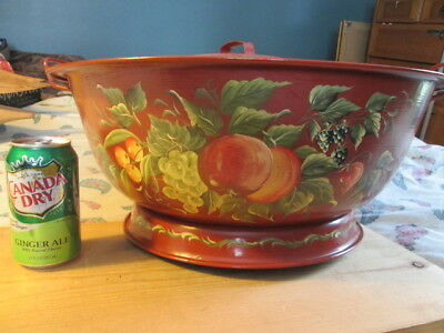 "WOW!!  Rosemaling, 19"" dia. bread dough pan w/ lid. painted inside & out. signed"